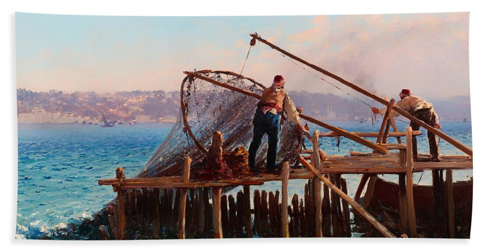 Painting Bath Towel featuring the painting Fishermen Bringing In The Catch by Mountain Dreams