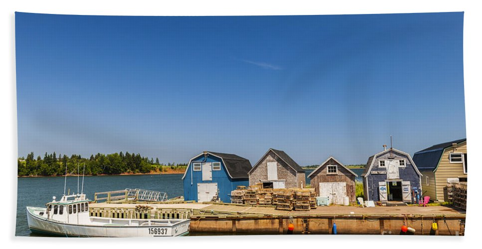 Boat Bath Towel featuring the photograph Fishing Dock In Prince Edward Island by Elena Elisseeva