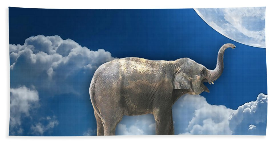 Cloud Bath Sheet featuring the mixed media Flight Of The Elephant by Marvin Blaine