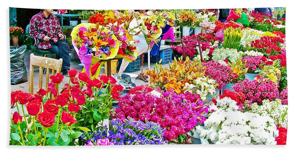 Flower Market In Taksim Square In Istanbul Bath Sheet featuring the photograph Flower Market In Taksim Square In Istanbul-turkey by Ruth Hager