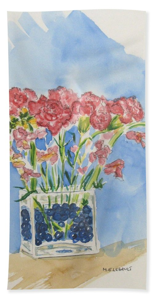 Flowers Hand Towel featuring the painting Flowers In A Vase by Mary Ellen Mueller Legault