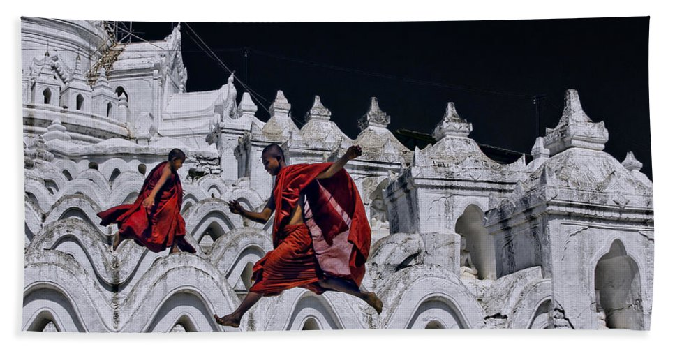 Myanmar Hand Towel featuring the photograph Flying Monks 2 by Claude LeTien