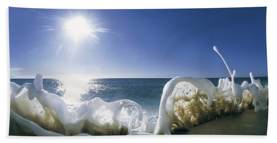 Sea Foam Hand Towel featuring the photograph Foam Inertia by Sean Davey