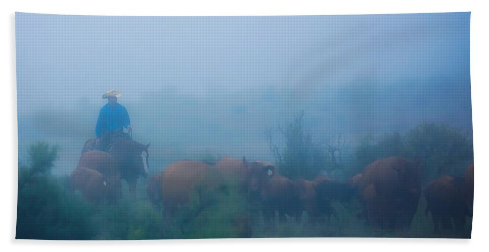 Livestock Hand Towel featuring the photograph Foggy Morning Gather by Kelli Brown