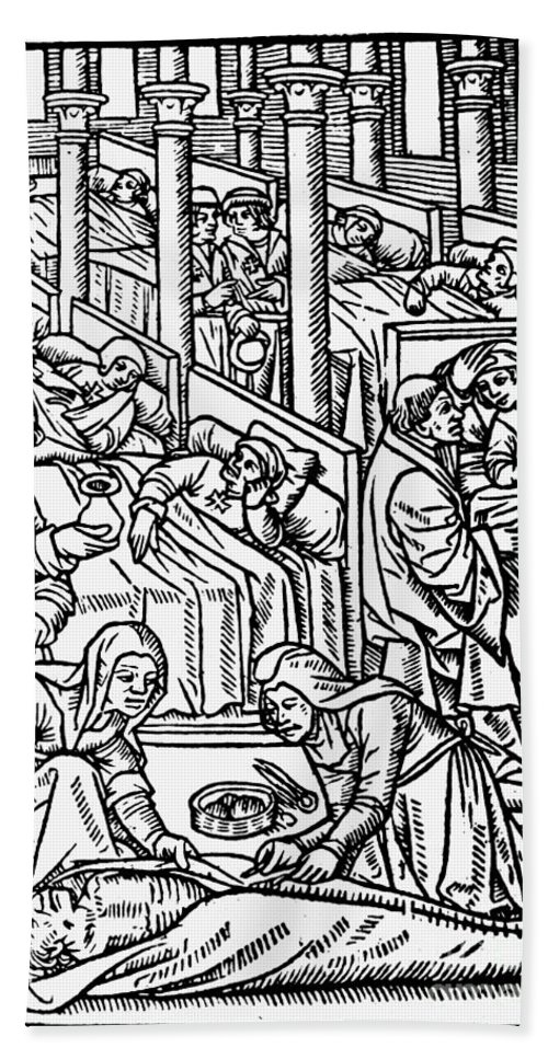 1500 Bath Sheet featuring the photograph France: Hospital, C1500 by Granger