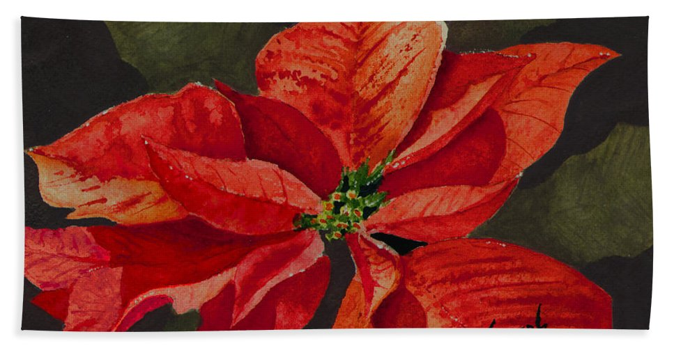 Flower Hand Towel featuring the painting Franci's Poinsettia by Sam Sidders