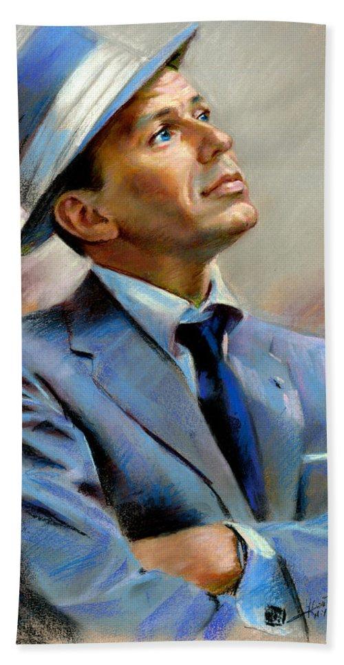 Francis frank Sinatra Hand Towel featuring the pastel Frank Sinatra by Ylli Haruni