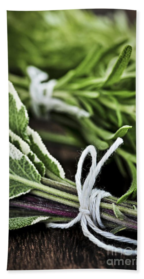 Herb Bath Towel featuring the photograph Fresh Herbs In Bunches by Elena Elisseeva
