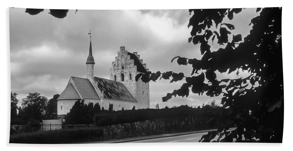 Froslev And Elswhere Denmark Danish Church Churches Building Buildings Structure Structures Steeple Steeples Place Places Of Worship Architecture Landscape Landscapes Black And White Hand Towel featuring the photograph Froslev And Elswhere 2 by Bob Phillips