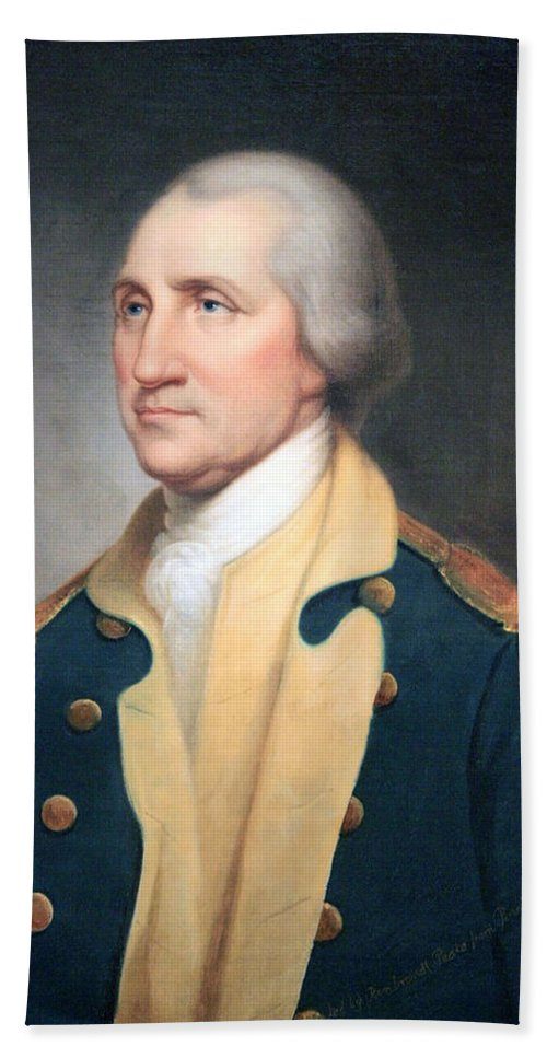 George Washington Bath Sheet featuring the photograph George Washington By Rembrandt Peale by Cora Wandel
