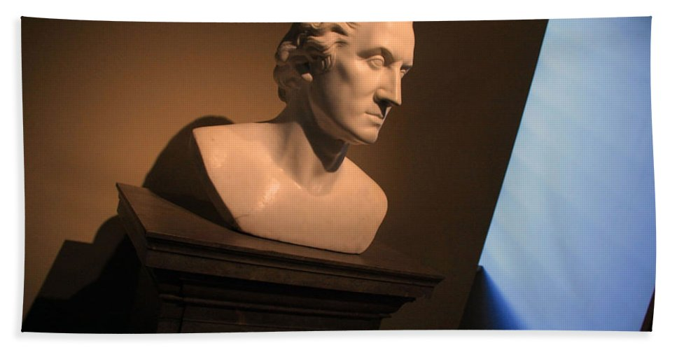 Portrait Bath Sheet featuring the photograph George Washington Dark Blue -- Horatio Greenough by Cora Wandel