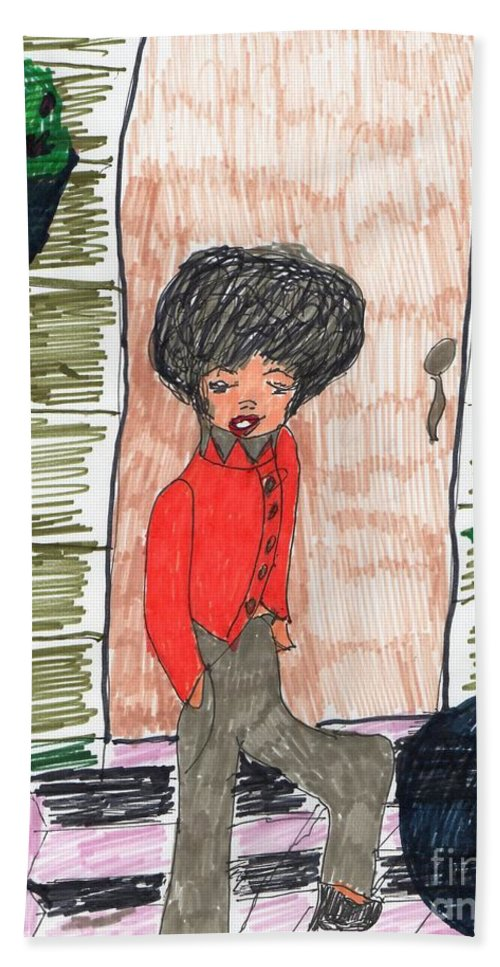 Lady Standing On A Step A Planter At The Door And One Hanging Hand Towel featuring the mixed media Glad To Be Home by Elinor Helen Rakowski