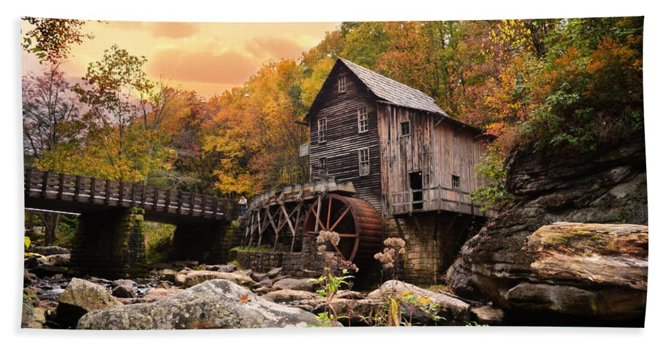 Glade Creek Grist Mill Hand Towel featuring the photograph Glade Creek Grist Mill by Lj Lambert