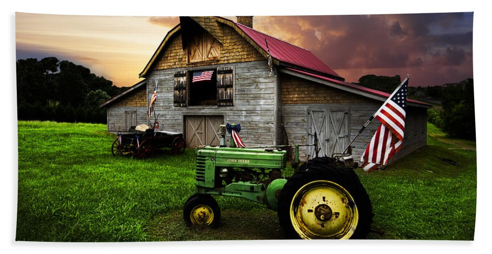 American Bath Sheet featuring the photograph God Bless America by Debra and Dave Vanderlaan