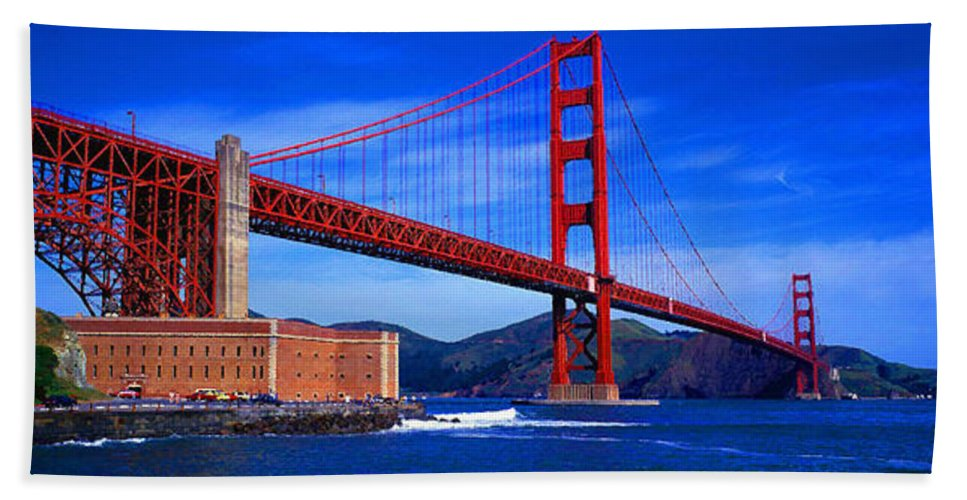 Aerial View Bath Sheet featuring the digital art Golden Gate Bridge Panoramic View by Don Kuing