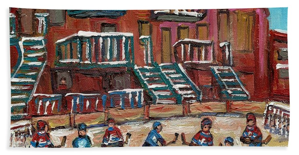 Hockey Bath Sheet featuring the painting Gorgeous Day For A Game by Carole Spandau