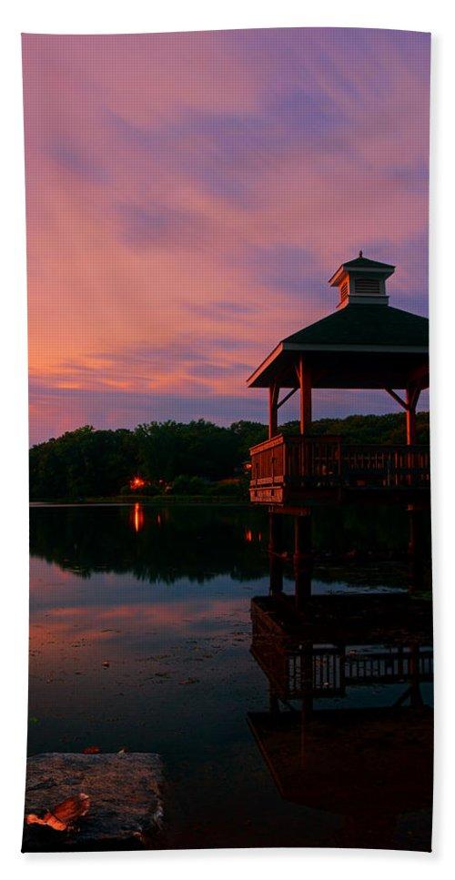 Gorton Pond Sunset Bath Sheet featuring the photograph Gorton Pond Sunset Warwick Rhode Island by Lourry Legarde