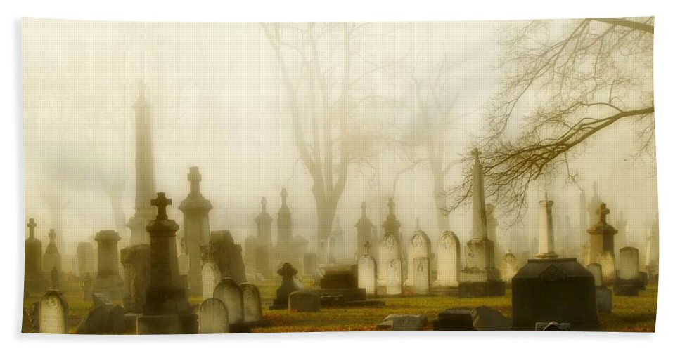 Fog Hand Towel featuring the photograph Gothic Autumn Morning by Gothicrow Images