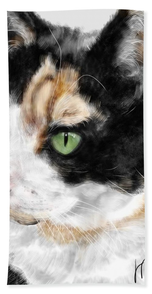 Cat Hand Towel featuring the painting Green Eyed Cat by Lois Ivancin Tavaf