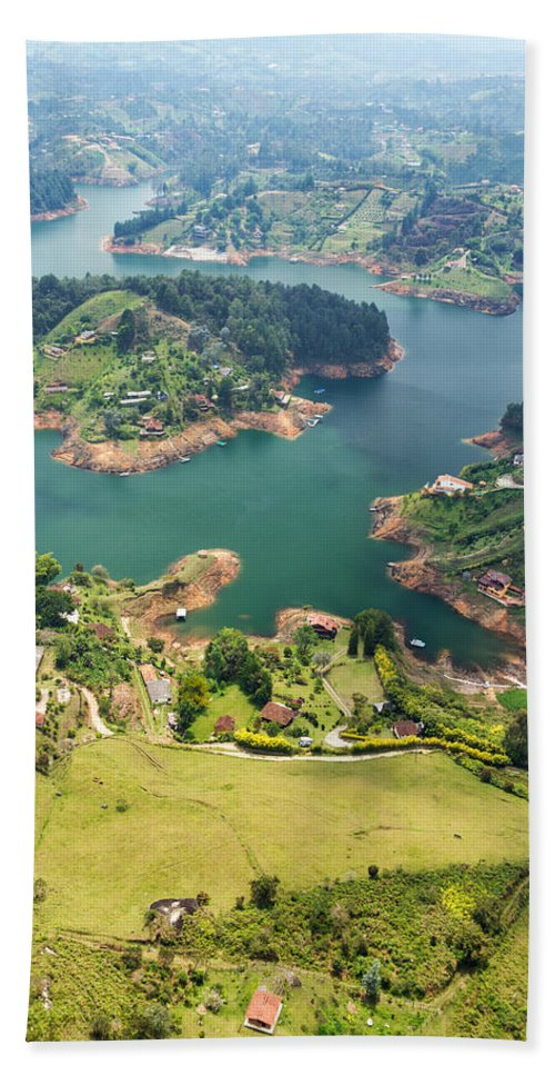Colombia Hand Towel featuring the photograph Guatape Lake by Jess Kraft