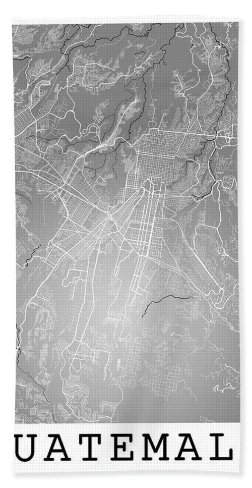 Road Map Hand Towel featuring the digital art Guatemala Street Map - Guatemala City Guatemala Road Map Art On by Jurq Studio