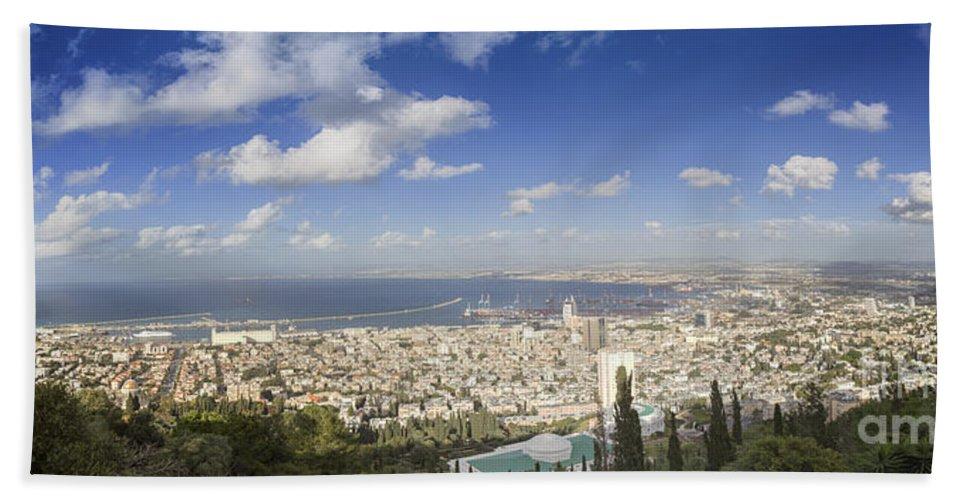 Haifa Bath Sheet featuring the photograph Haifa Bay Panorama by Nir Ben-Yosef
