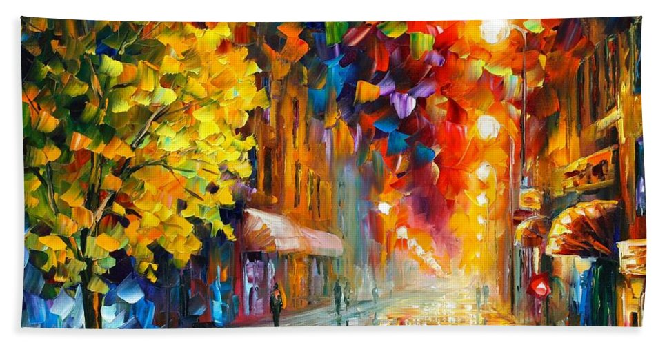 Afremov Hand Towel featuring the painting Happy Street by Leonid Afremov