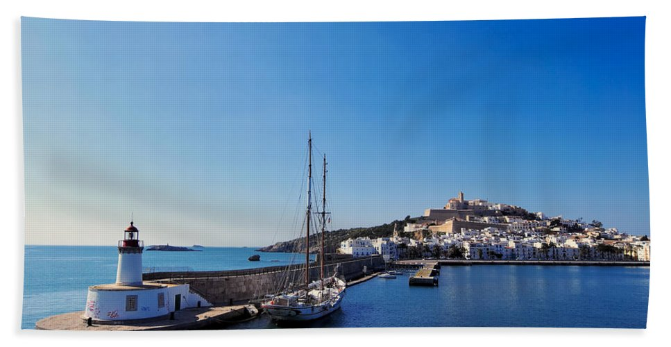 Harbor Bath Sheet featuring the photograph Harbor In Ibiza Town by Karol Kozlowski