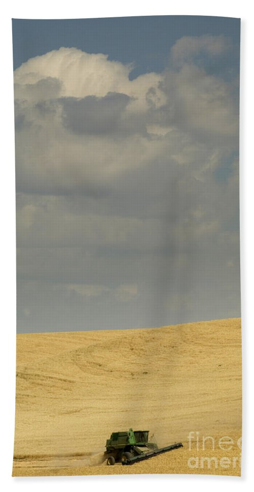 Harvest Bath Sheet featuring the photograph Harvesting Wheat by John Shaw