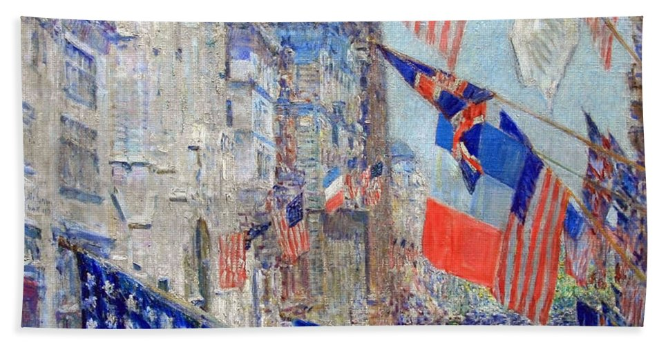 Allies Day Bath Sheet featuring the photograph Hassam's Allies Day May 1917 -- The Avenue Of The Allies by Cora Wandel