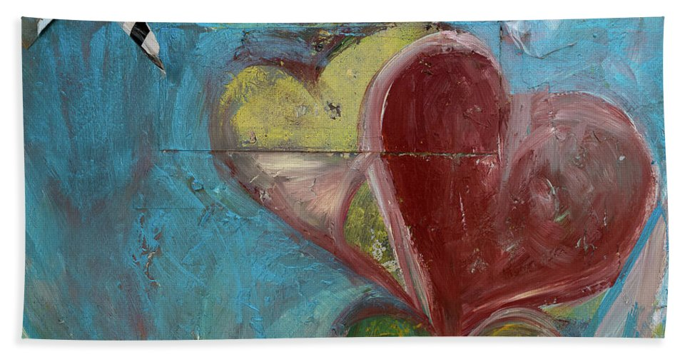 Photography Bath Sheet featuring the photograph Heart Shape Painted On A Wall, Safed by Panoramic Images