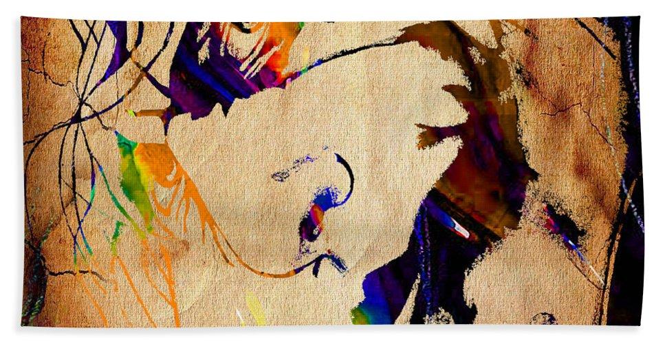 Heath Ledger Paintings Bath Sheet featuring the mixed media Heath Ledger The Joker Collection by Marvin Blaine