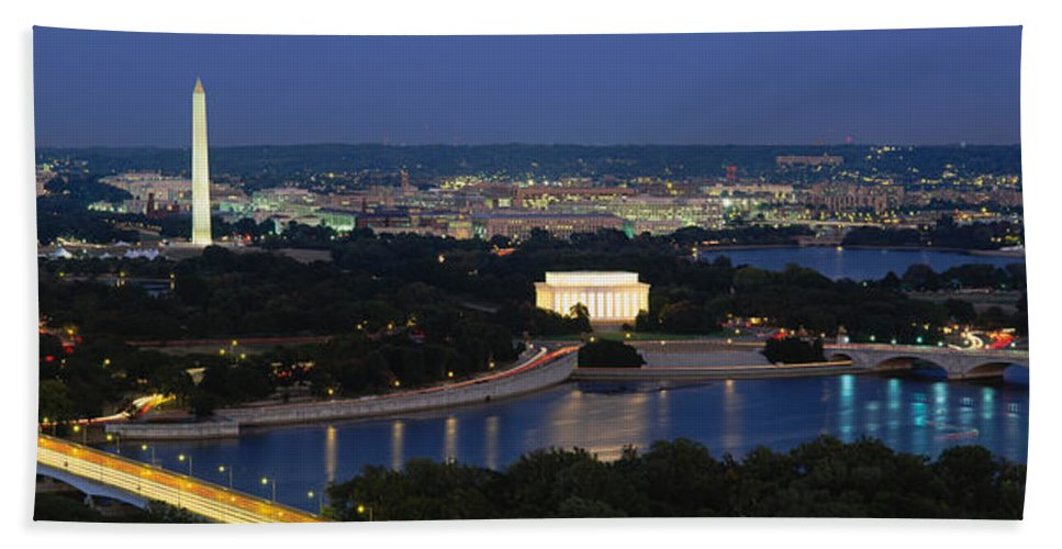 Photography Hand Towel featuring the photograph High Angle View Of A City, Washington by Panoramic Images