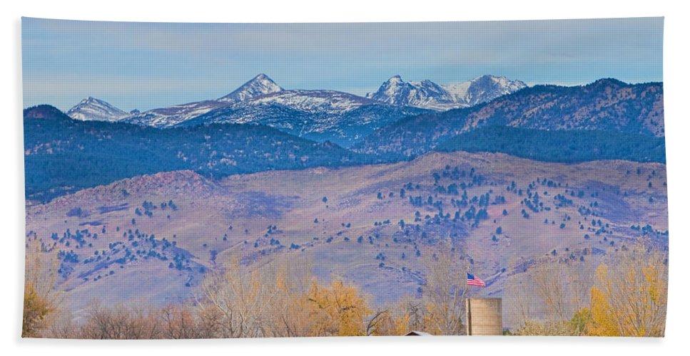 'hot Air Balloon' Bath Sheet featuring the photograph Hot Air Balloon Rocky Mountain County View by James BO Insogna