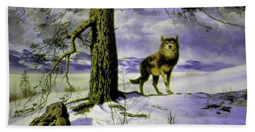 Genio Hand Towel featuring the mixed media Hunting Wolf by Genio GgXpress