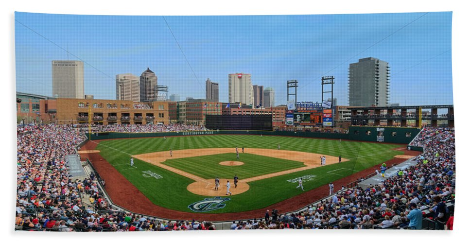 Columbus Clippers Hand Towel featuring the photograph D24w-299 Huntington Park Photo by Ohio Stock Photography
