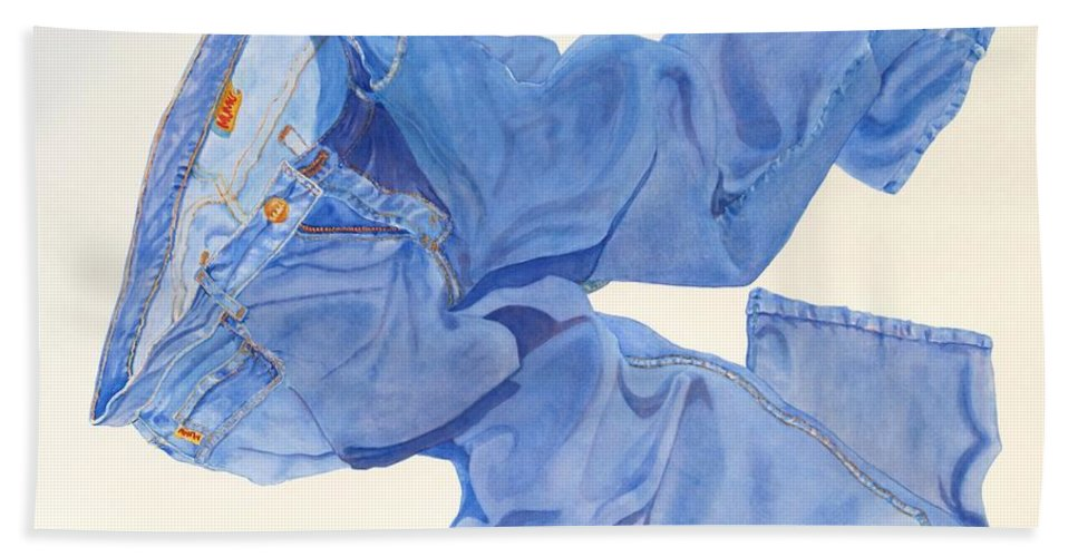 Blue Bath Sheet featuring the painting Watercolor  I Love My Jeans by Mary Ellen Mueller Legault