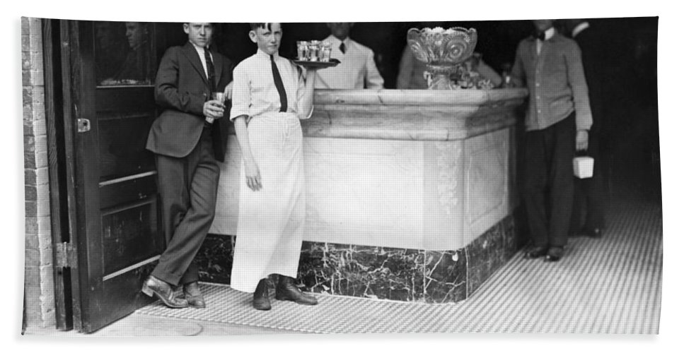 1890 Bath Sheet featuring the photograph Ice Cream Parlor by Granger