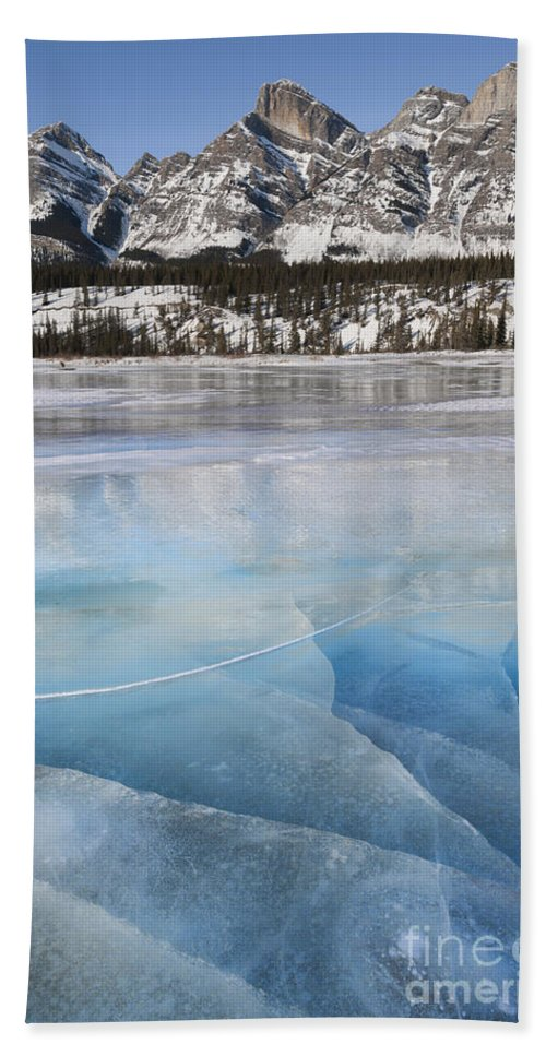Nature Bath Sheet featuring the photograph Ice On North Saskatchewan River by John Shaw