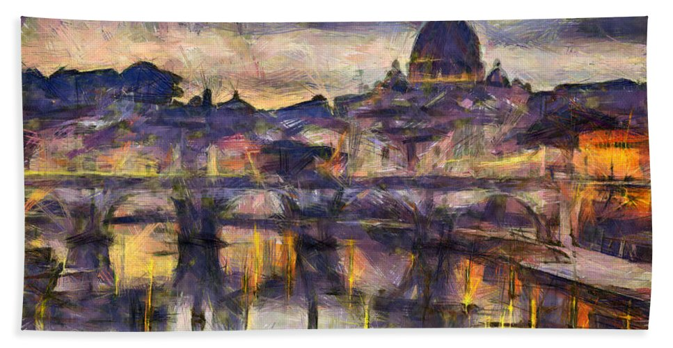 Rome Hand Towel featuring the photograph Illuminated Bridge In Rome Italy by Sophie McAulay