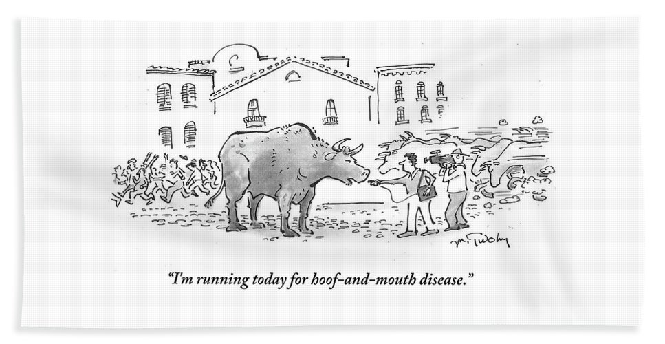 I'm Running Today For Hoof-and-mouth Disease.' Bath Sheet featuring the drawing I'm Running Today For Hoof And Mouth Disease by Mike Twohy