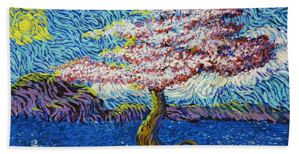 Landscape Hand Towel featuring the painting In The Flow Of Life by Stefan Duncan