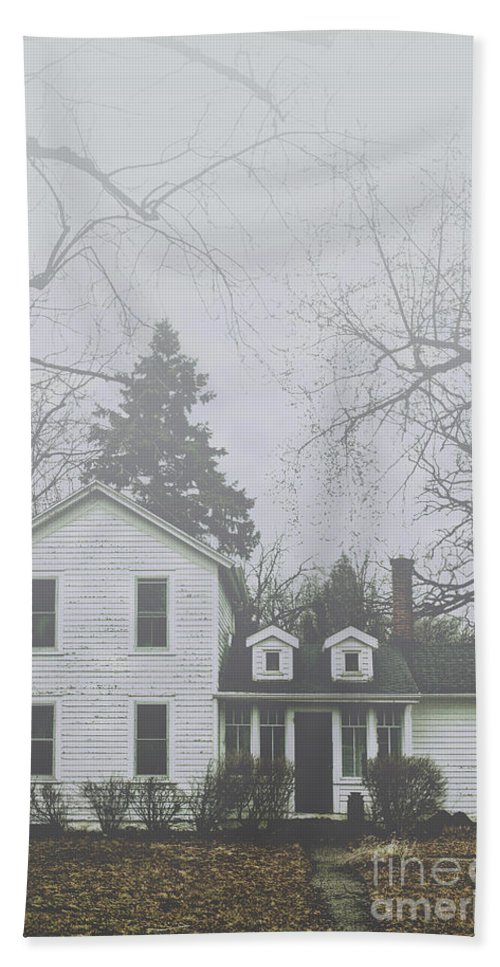 Home; House; Old; Farmhouse; Spooky; Peeling Paint; Derelict; Neglected; Sidewalk; Creepy; Dark; Entrance; Stairs; Door; Haunted; Porch; Eerie; Scary; Ruin; Mood; Gloomy; Rural; Fog; Trees; Dead; Fall; Autumn Hand Towel featuring the photograph In The Fog by Margie Hurwich