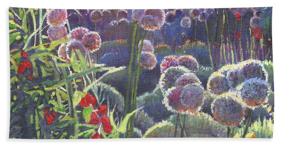 Floral Hand Towel featuring the painting Incandescence by Helen White
