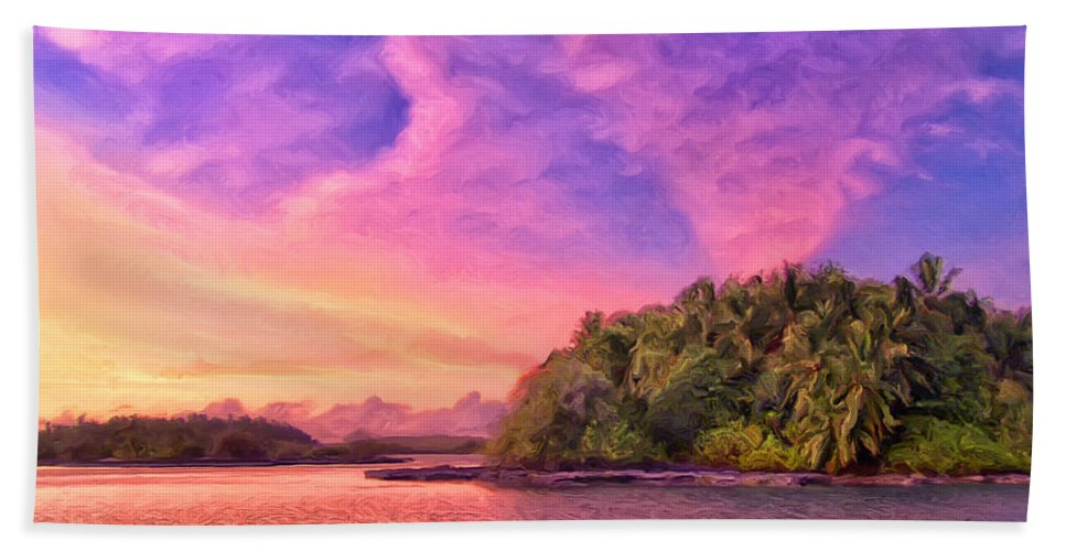 Indian Ocean Bath Sheet featuring the painting Indian Ocean Sunset by Dominic Piperata