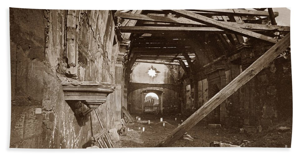 Interior Hand Towel featuring the photograph Interior Of Old Mission Church At Carmel Mission California Circa 1880 by California Views Archives Mr Pat Hathaway Archives