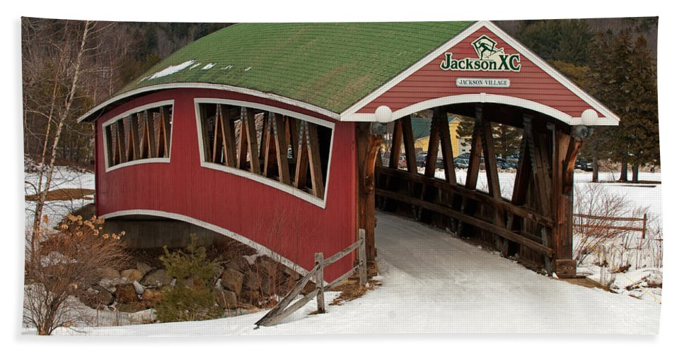 jackson Cross Country Skiing Bridge Bath Sheet featuring the photograph Jackson Cross Country Skiing Bridge by Paul Mangold