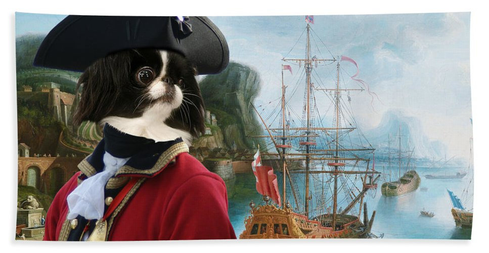 Japanese Chin Hand Towel featuring the painting Japanese Chin Art Canvas Print by Sandra Sij