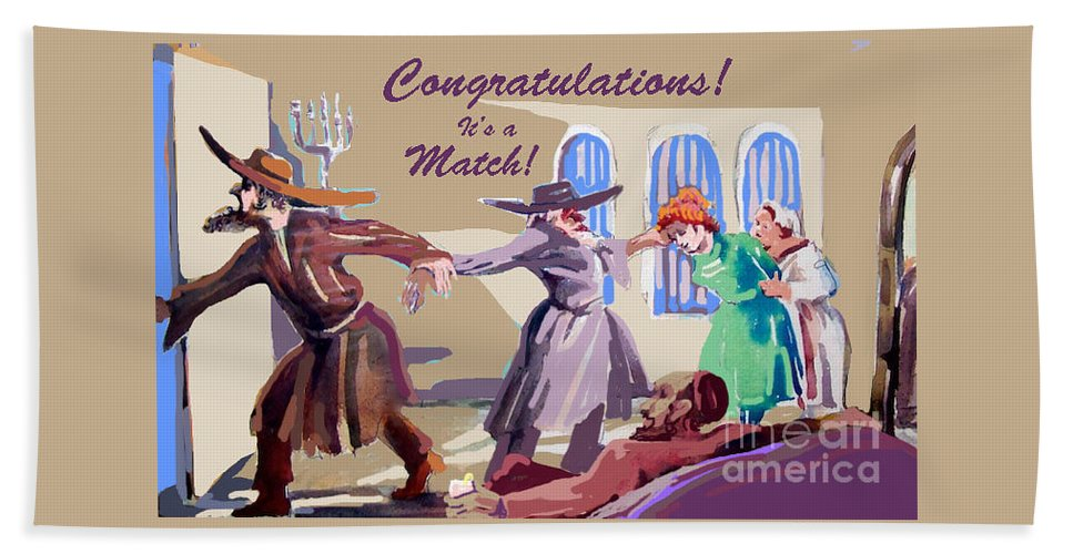 Jewish Hand Towel featuring the mixed media The Matchmaker by Shirl Solomon