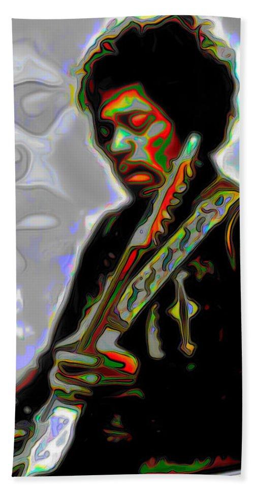 Jimi Hendrix; Jimi Hendrix Picture; Portrait Painting; Fine Art; Fine Art America; Fine Art Print; Figurative Art; Man; Modern Art; Music; Celebrity; Contemporary Art; Fli Bath Sheet featuring the painting Jimi Hendrix by Fli Art